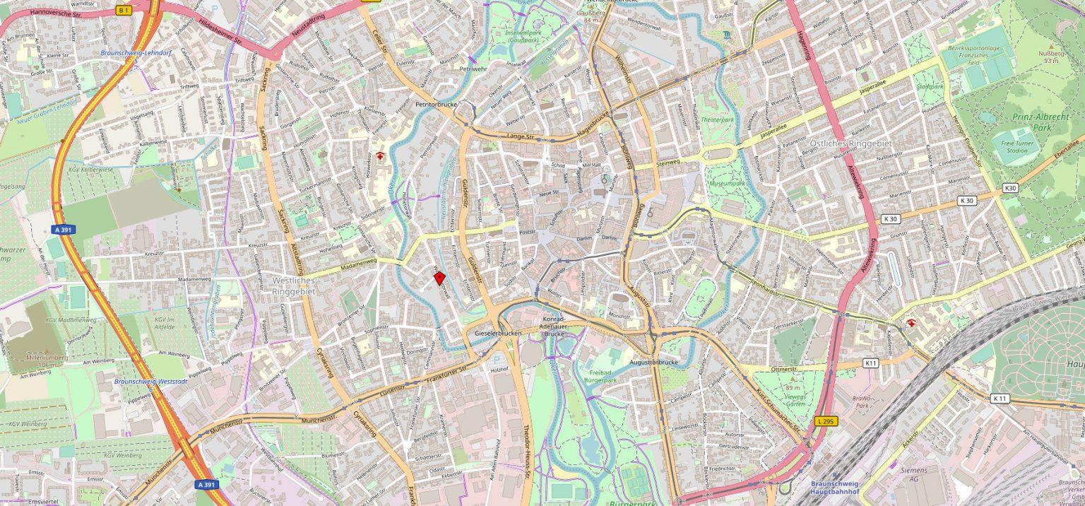 Kanzlei Martina Notthoff Karte Standort Braunschweig Wilhelmitorwall 31